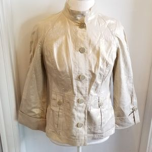 Chicos Gold Cream Metallic Linen Jacket sz Small